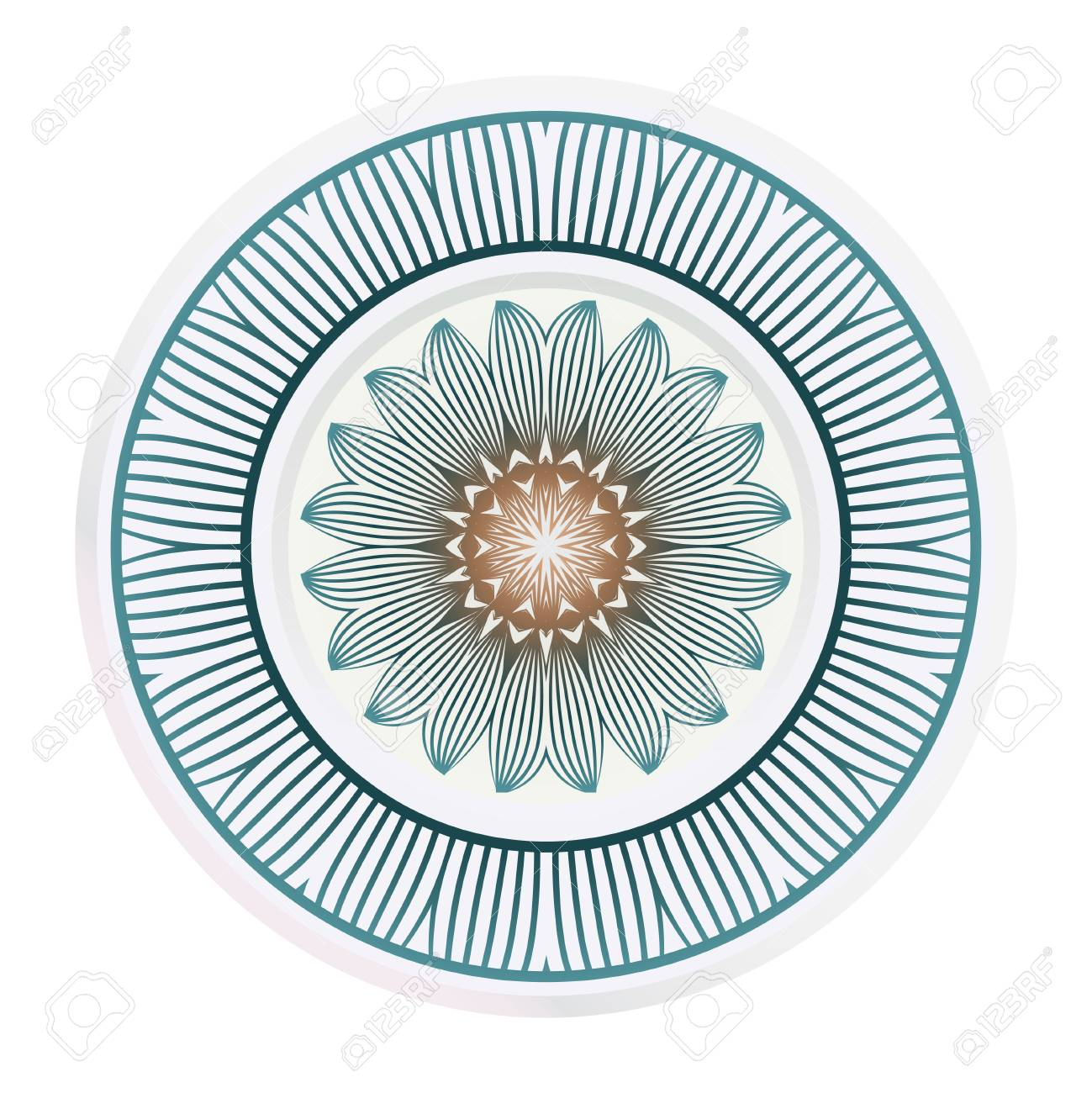 matching decorative plates. Decorative mandala ornament. Vector..