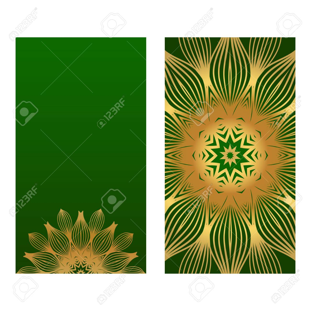 Invitation Or Card Template With Floral Mandala Pattern For