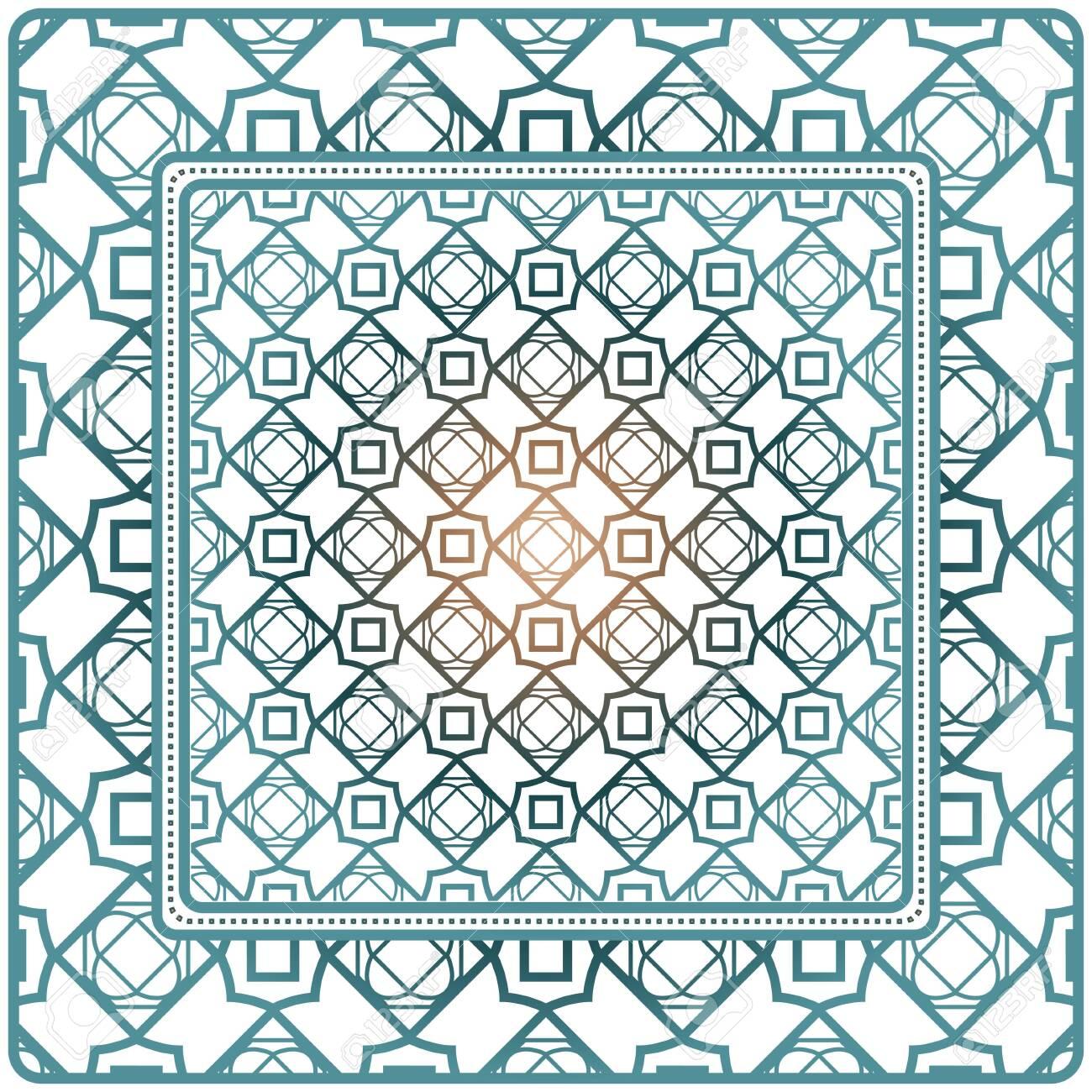Decorative Ornament With Geometric Decoration. Symmetric Pattern . For Print Bandanna, Shawl, Tablecloth, Fabric Fashion, Scarf, Design. - 121613773