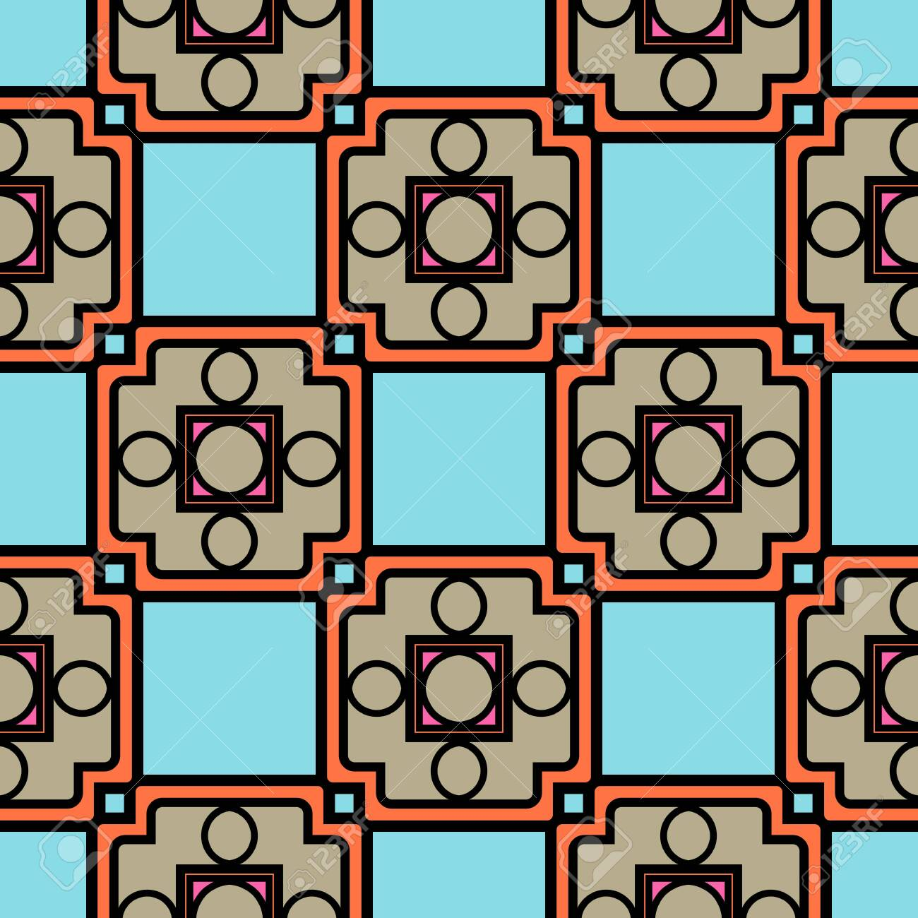 Color decorative seamless pattern with geometric ornamnet. Vector illustration. - 133968991