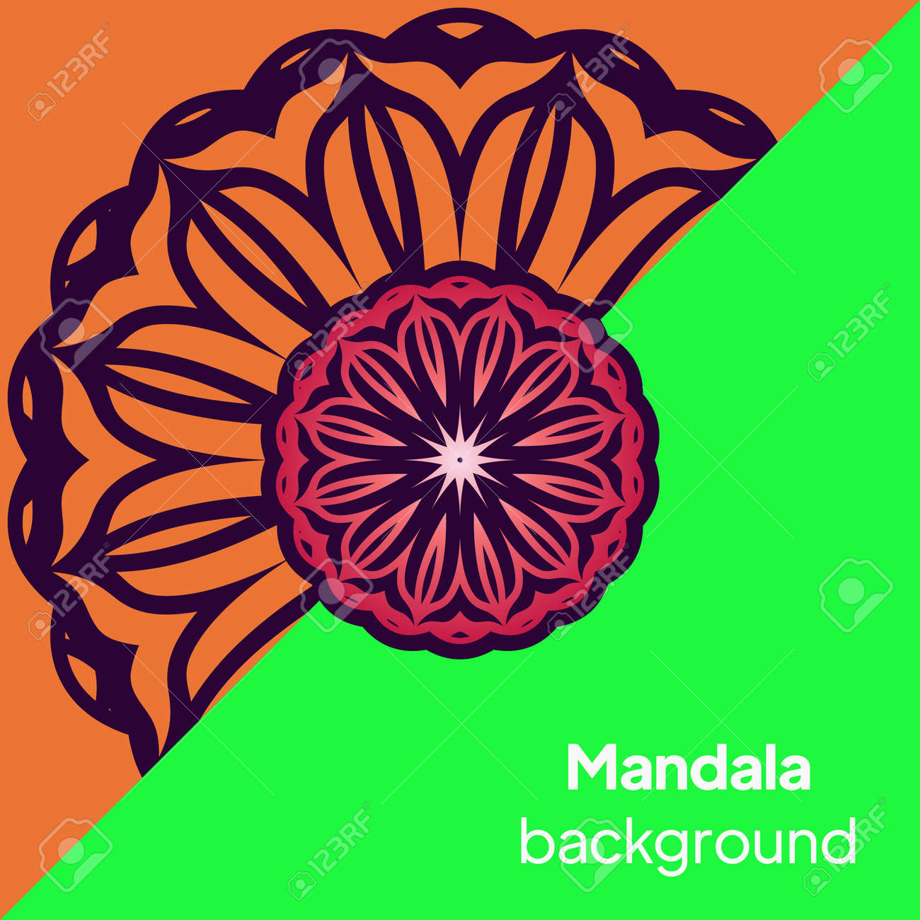 Vector Beautiful Contour Flower Mandala. Vector illustration - 167216189