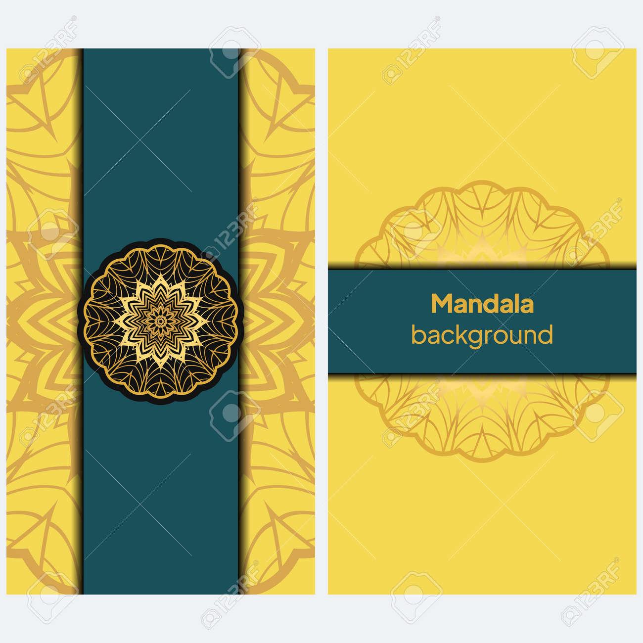 Ethnic Mandala ornament. Templates with mandalas. Vector illustration for congratulation or invitation. - 167230528