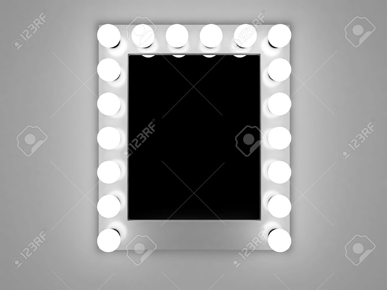 3d illustration of mirror with bulbs for makeup Stock Illustration - 17306145
