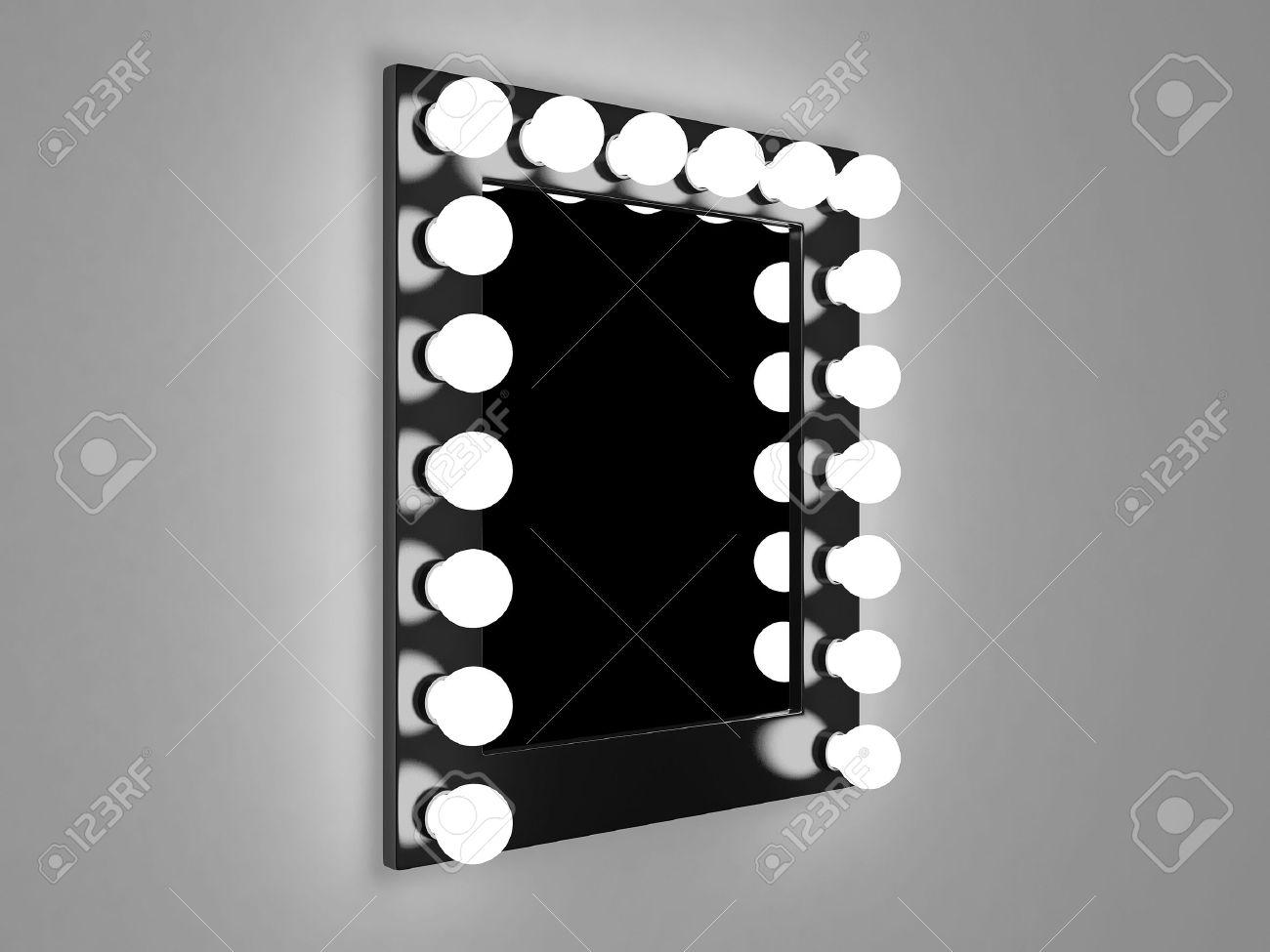 Make Up Spiegels : D darstellung der spiegel mit lampen für make up lizenzfreie