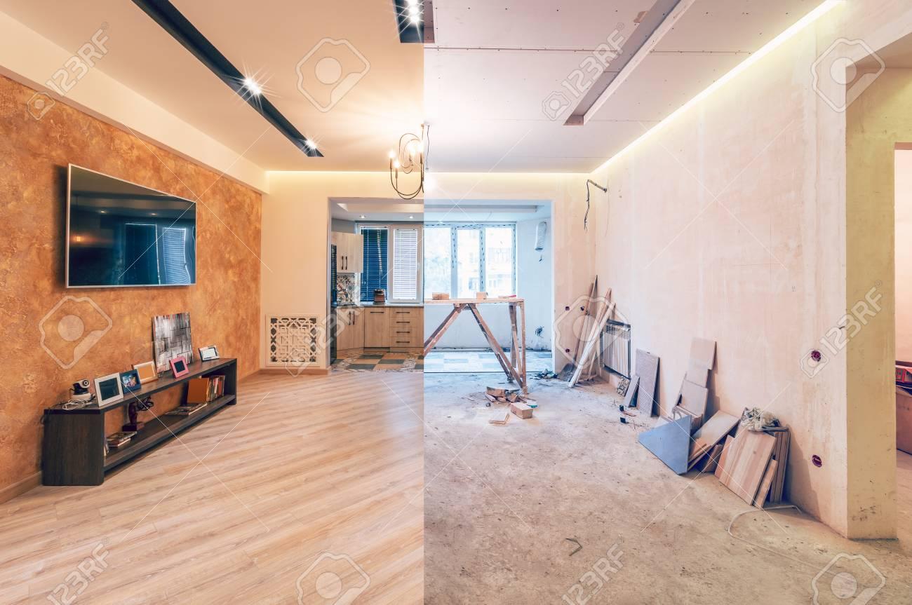 Modern interior design of big living-kitchen studio room, before and after - 123288968
