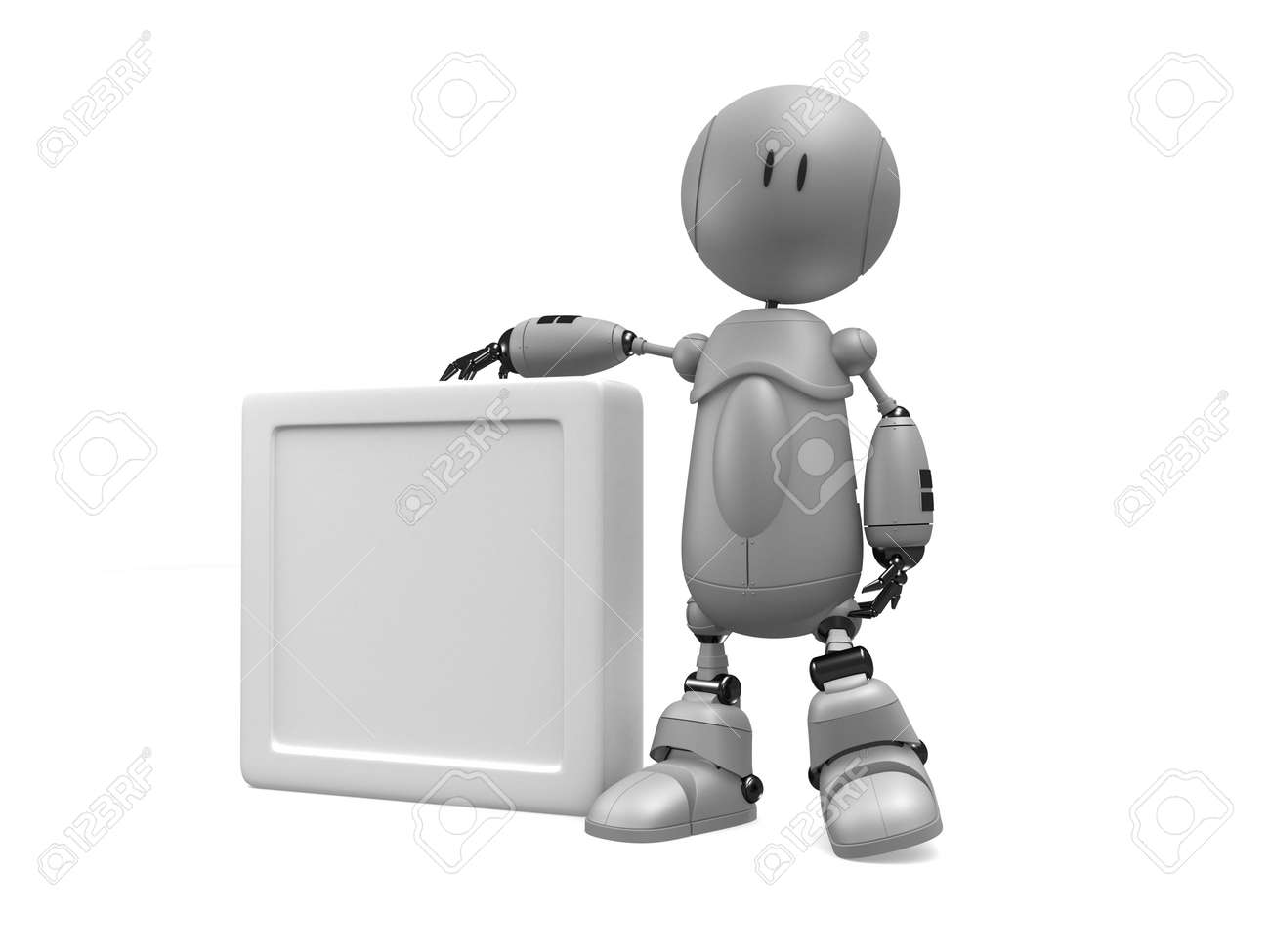 little robot with blank sign Stock Photo - 3006396