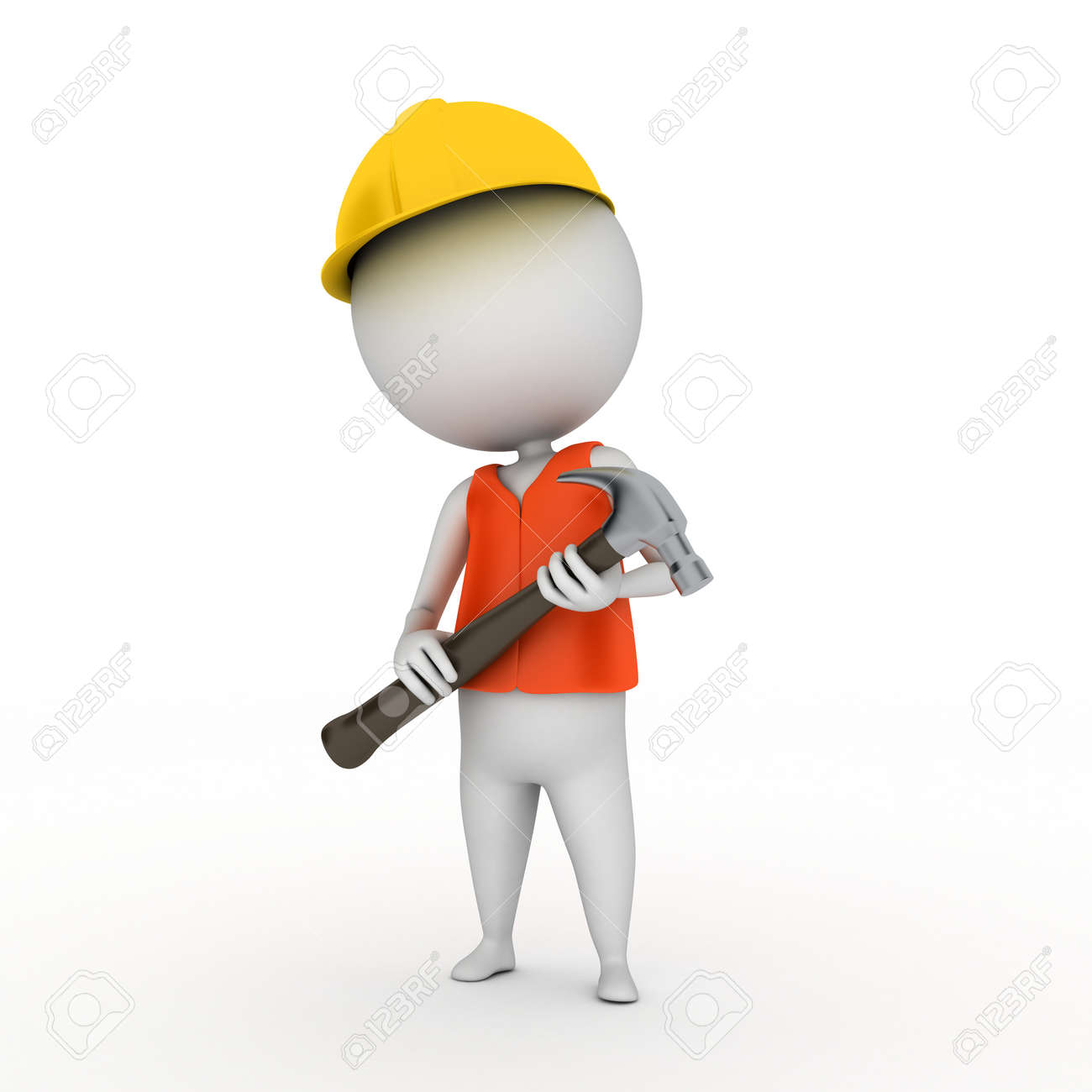 3d rendered illustration of a little worker guy Stock Photo - 11023375