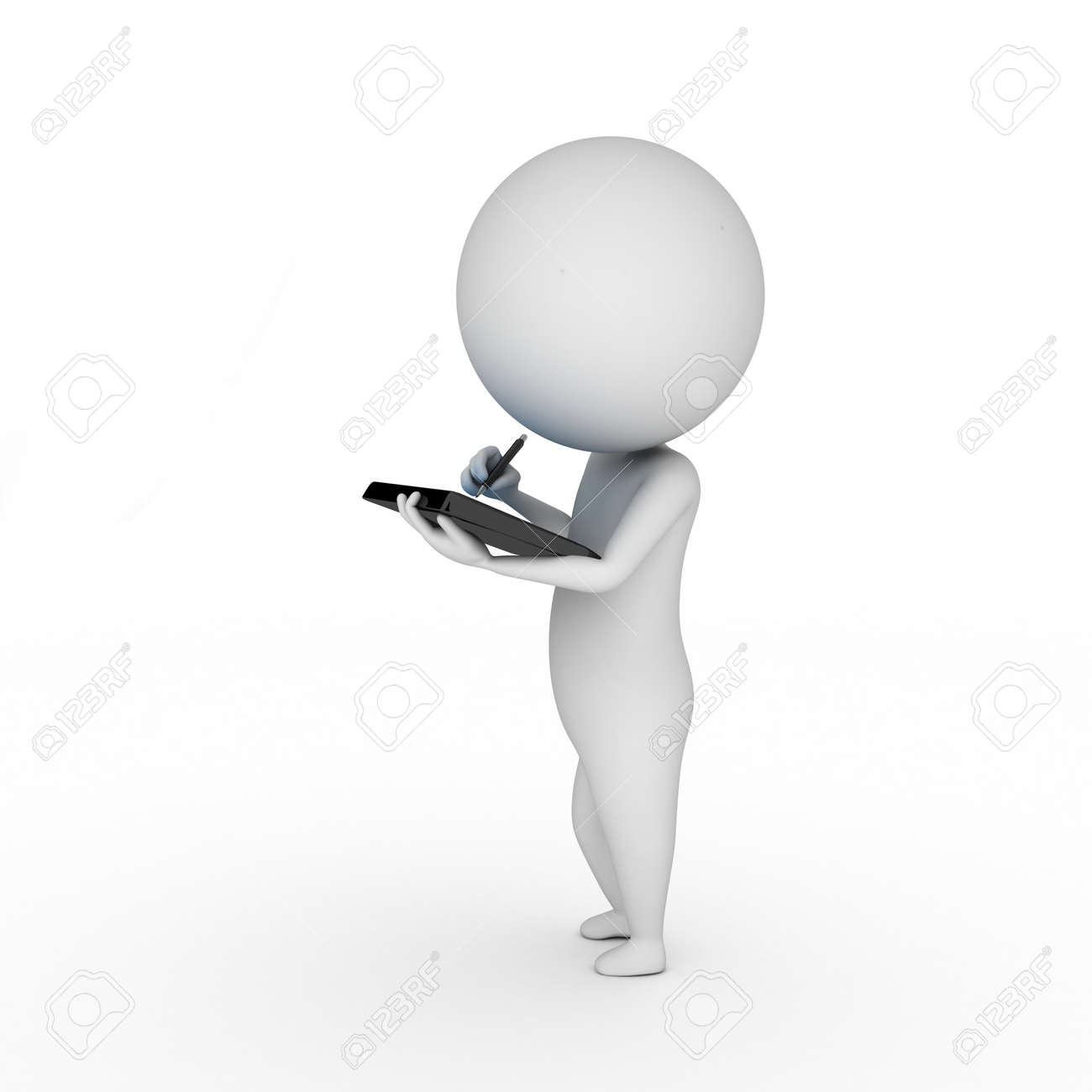 3d rendered illustration of a little guy with a tablet pc Stock Photo - 11023298