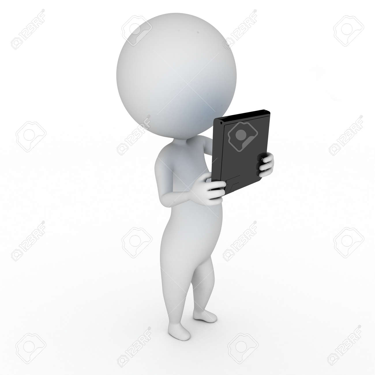 3d rendered illustration of a little guy with a tablet pc Stock Illustration - 11023395