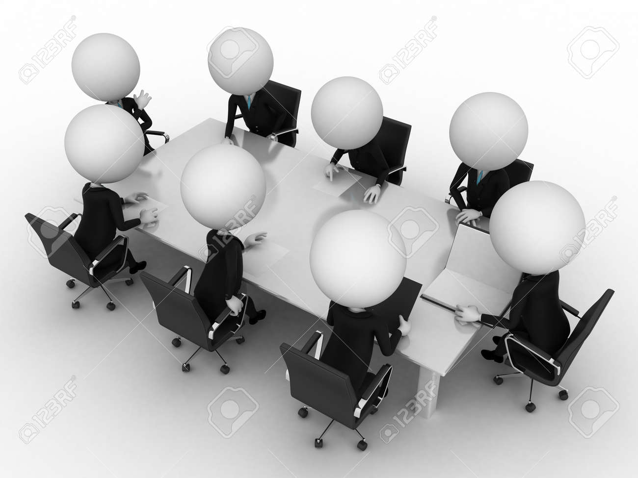 3d rendering of a group of little guys - conference table Stock Photo - 11023535