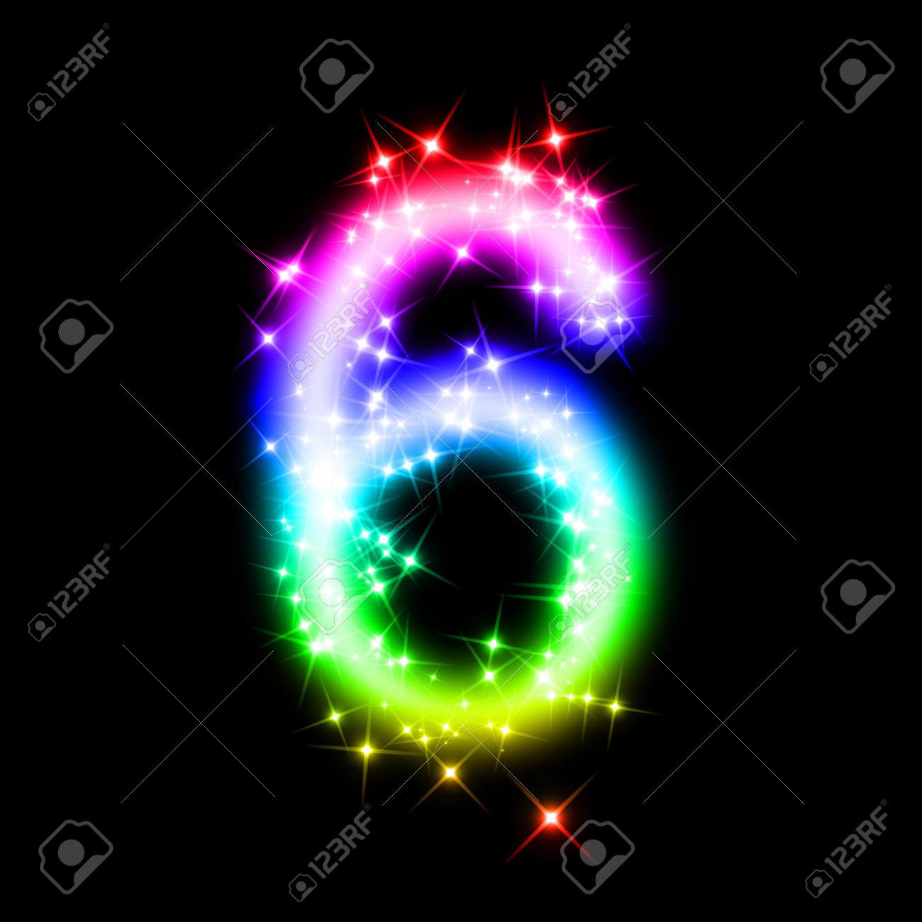 キラキラ数 6 ロイヤリティーフリーフォト ピクチャー 画像 ストック