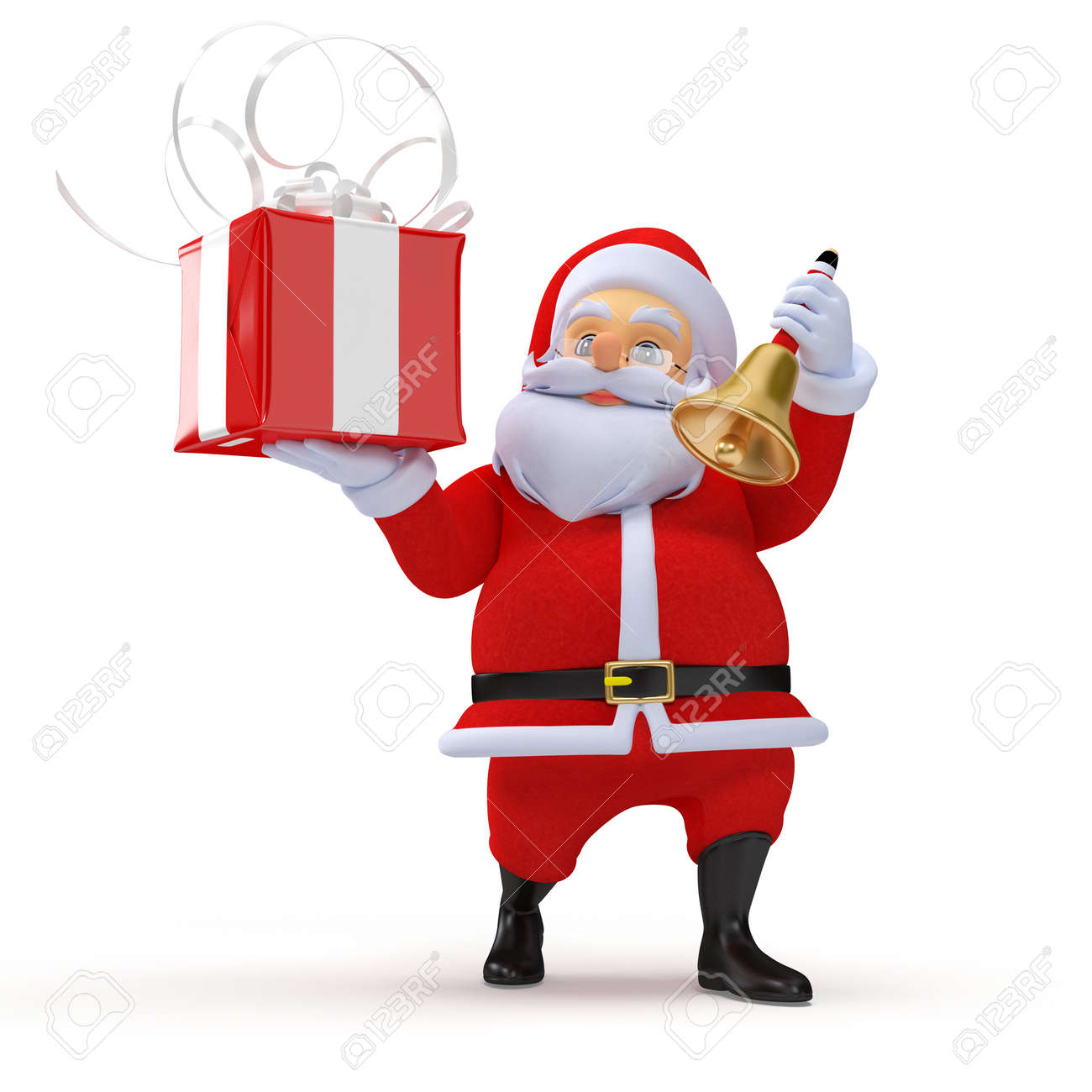 3d rendered illustration of a santa claus with a present Stock Illustration - 12585866
