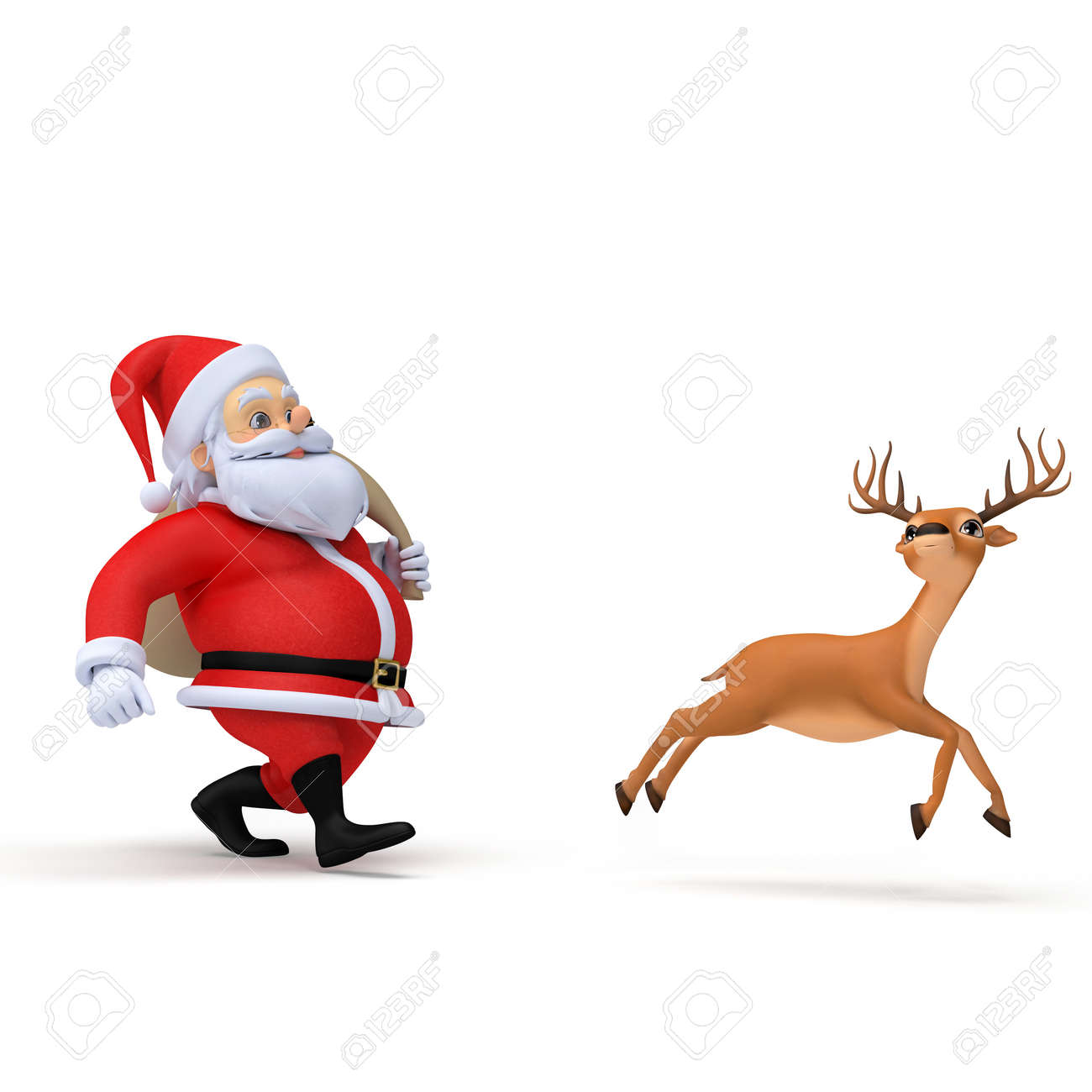 3d rendered illustration of a little santa and his reindeer Stock Illustration - 12585738