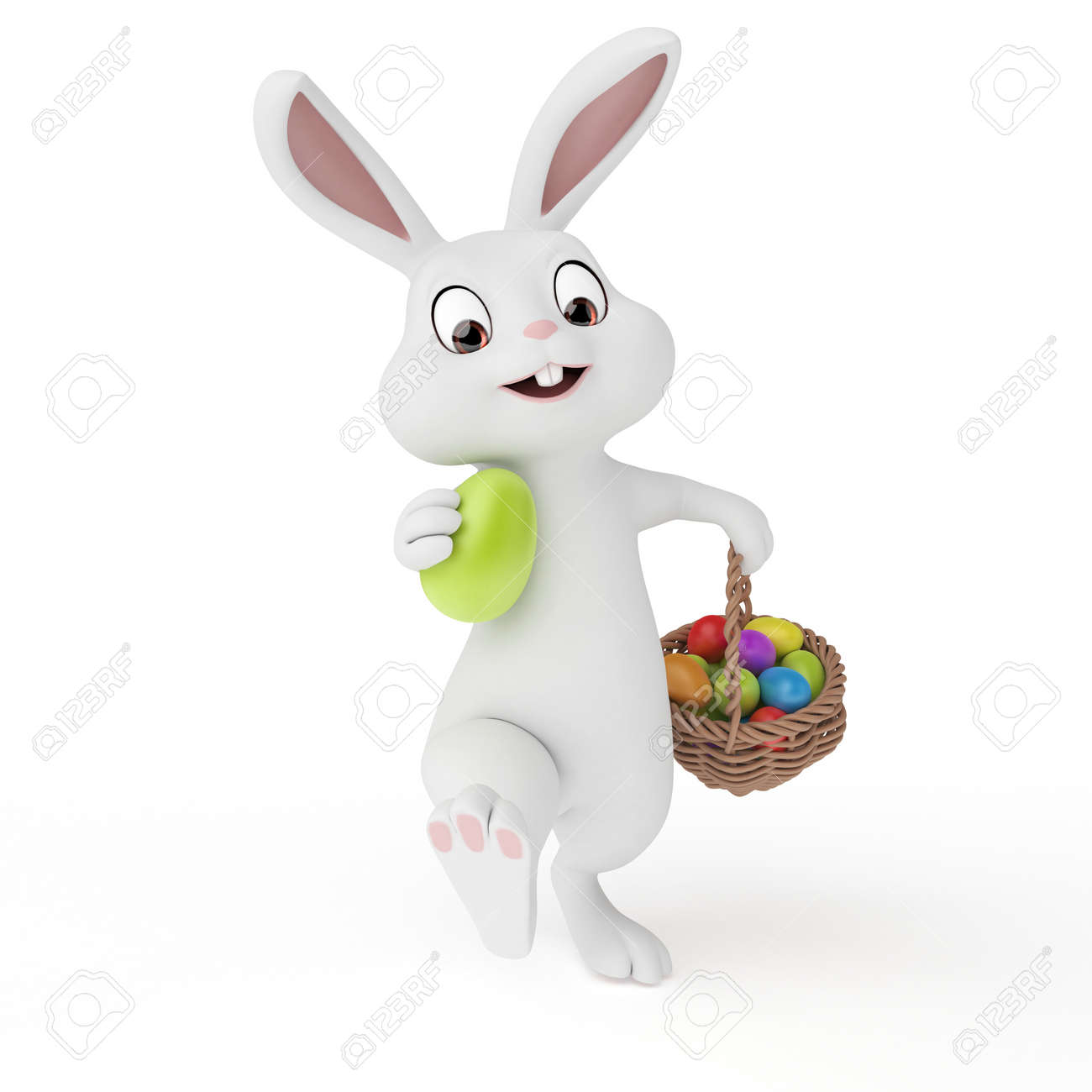 3d rendered illustration of a cute easter bunny stock photo