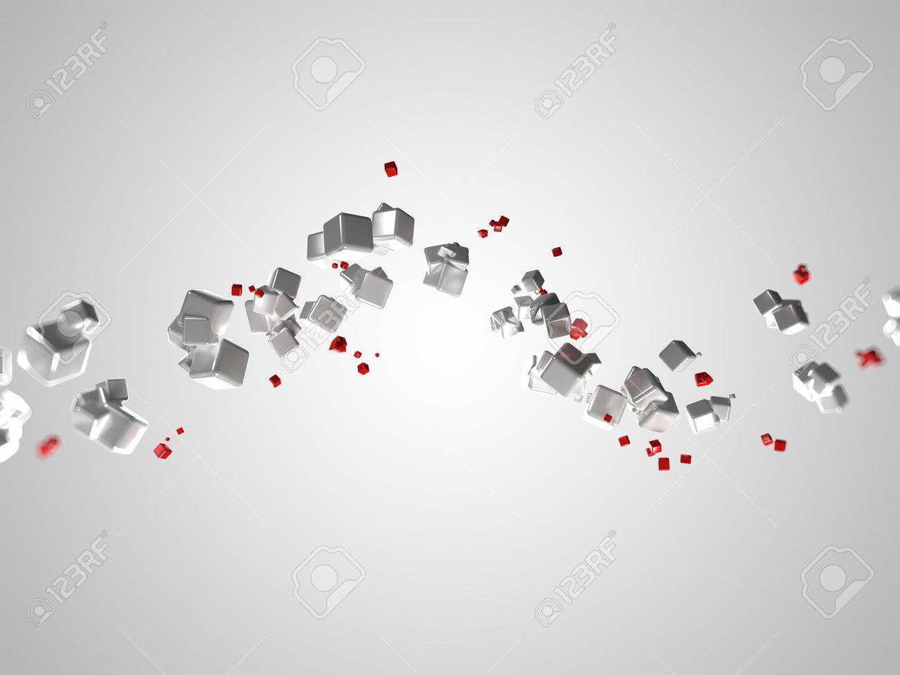 3d rendered illustration of some floating cubes Stock Illustration - 13005079