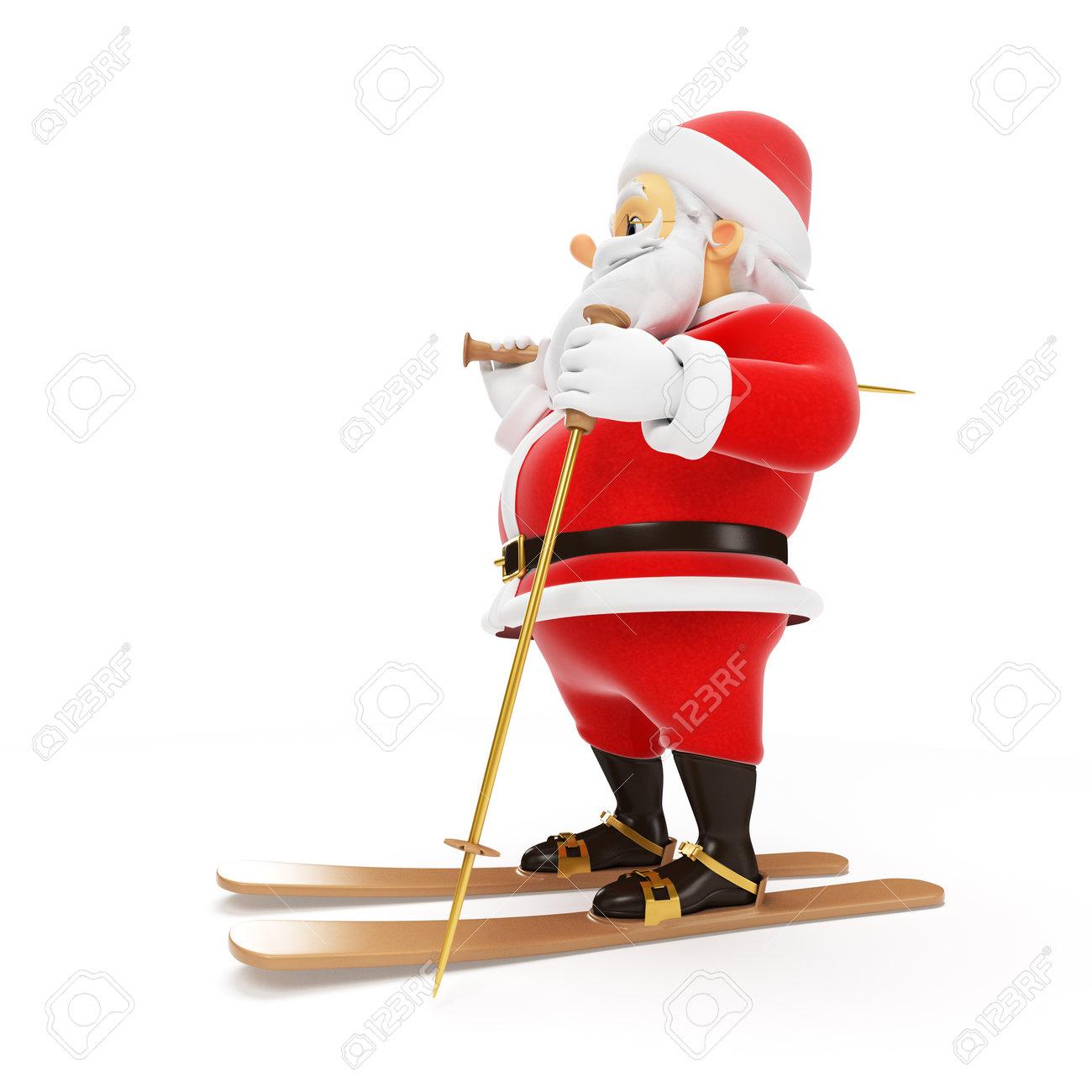 3d rendered illustration of a little santa skiing Stock Photo - 17426905