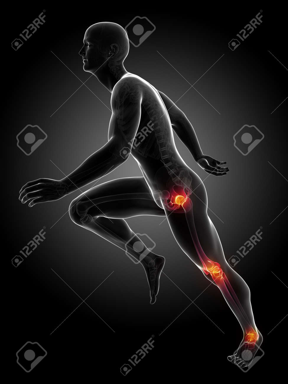 3d rendered illustration - runners joints Stock Photo - 18070642