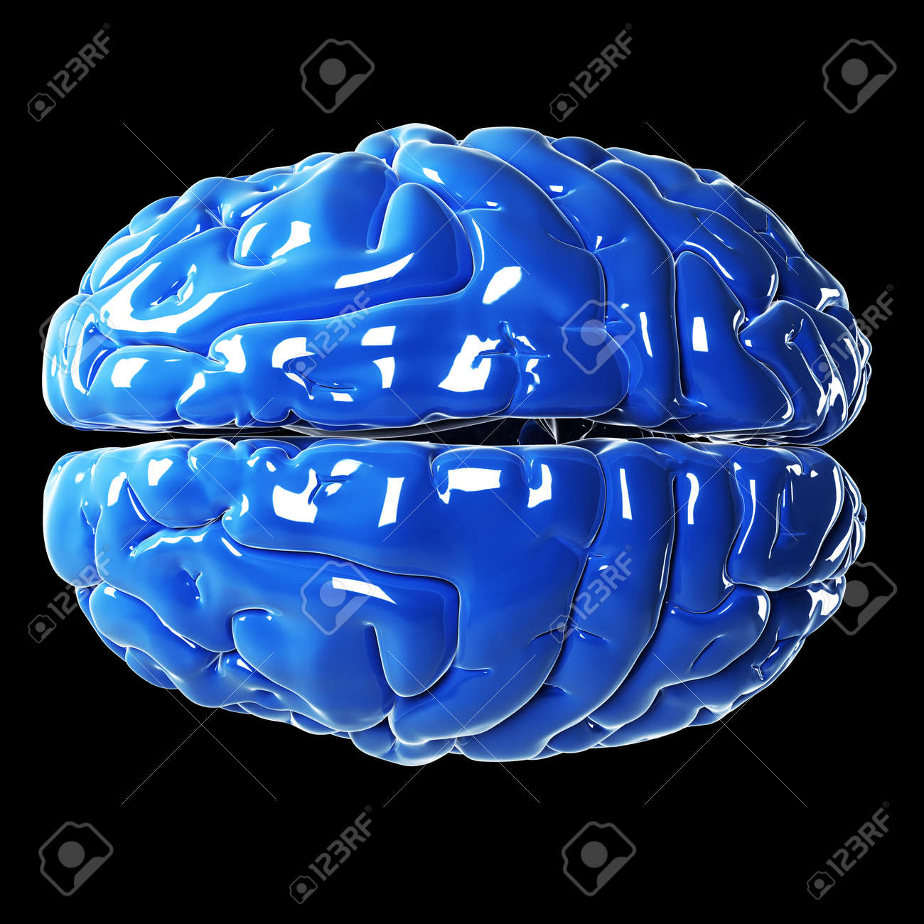 3d rendered illustration - glossy blue brain Stock Photo - 18071515