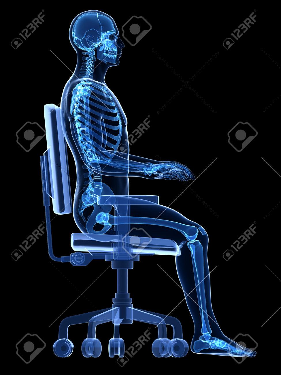 3d rendered medical illustration - correct sitting posture Stock Illustration - 22584226