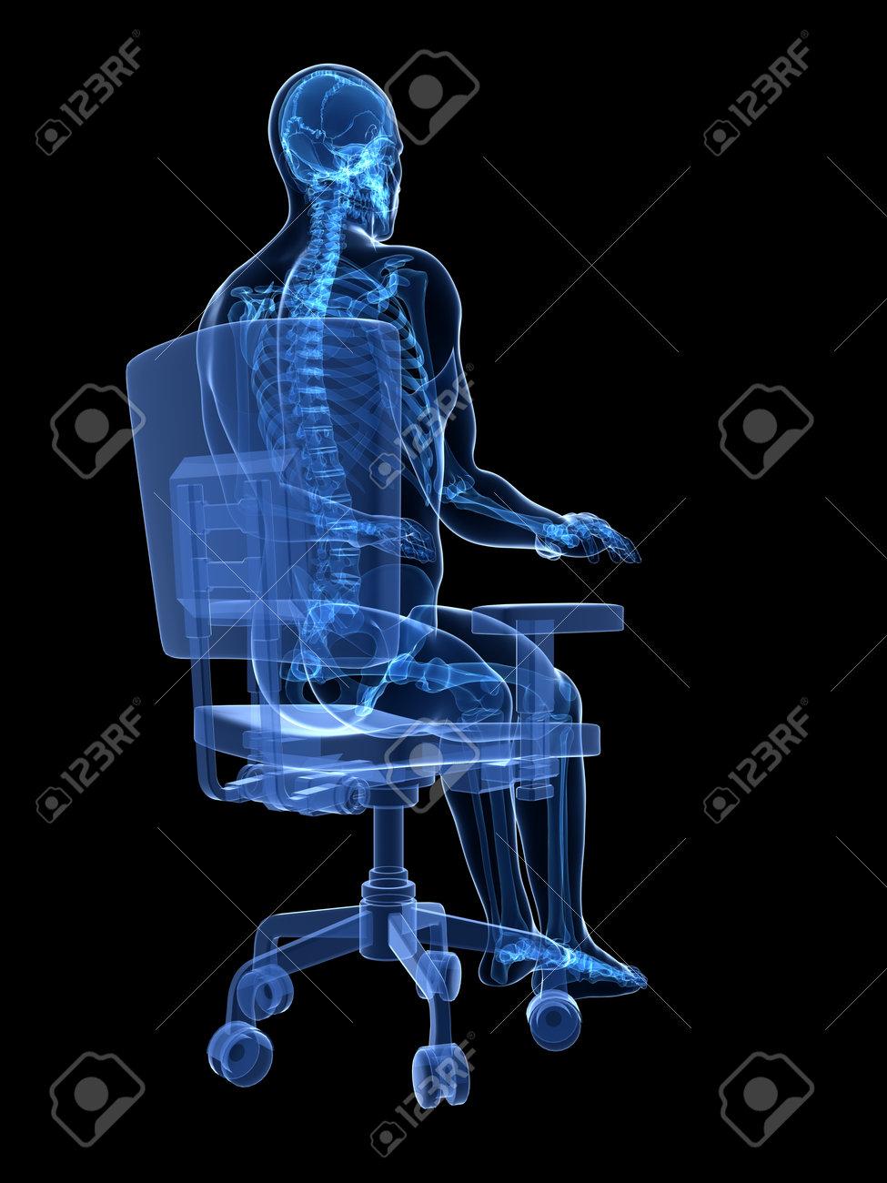 3d rendered medical illustration - correct sitting posture Stock Illustration - 22584232