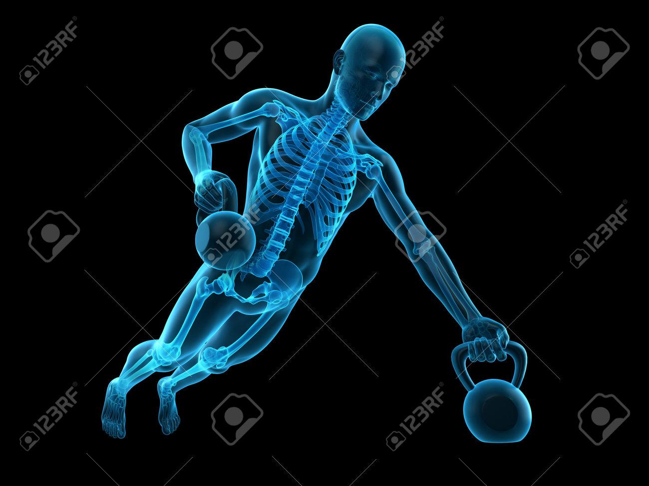 Médicamente Exacta 3d Ilustración De Un Atleta Con La Caldera Fotos ...