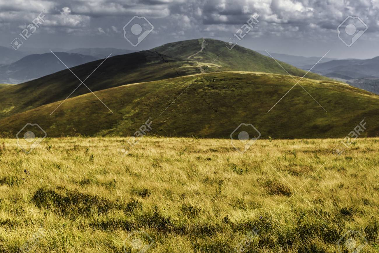 Summer view of Carpathian Mountains and Valleys, under blue sky with clouds. Banque d'images - 82056120
