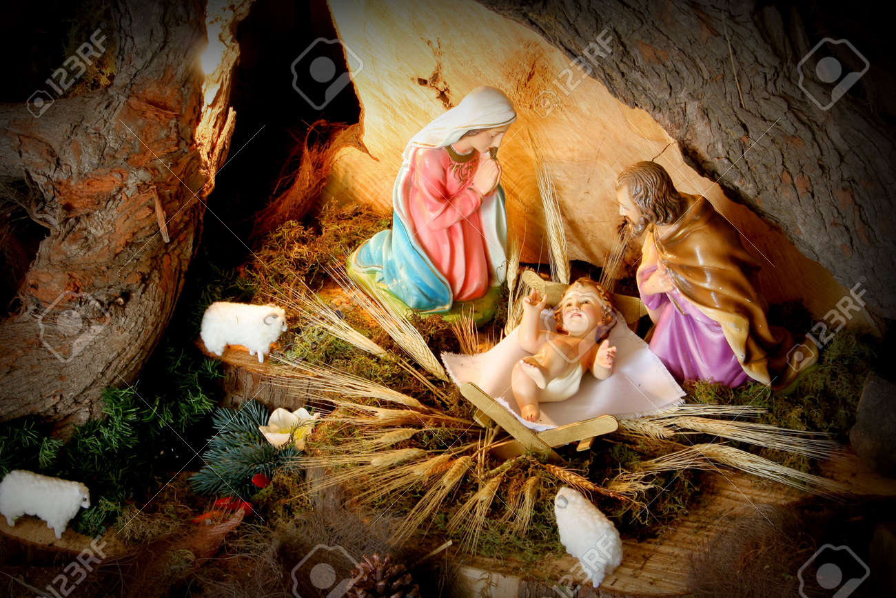 Manger. Christmas Nativity Scene Stock Photo, Picture And Royalty ...