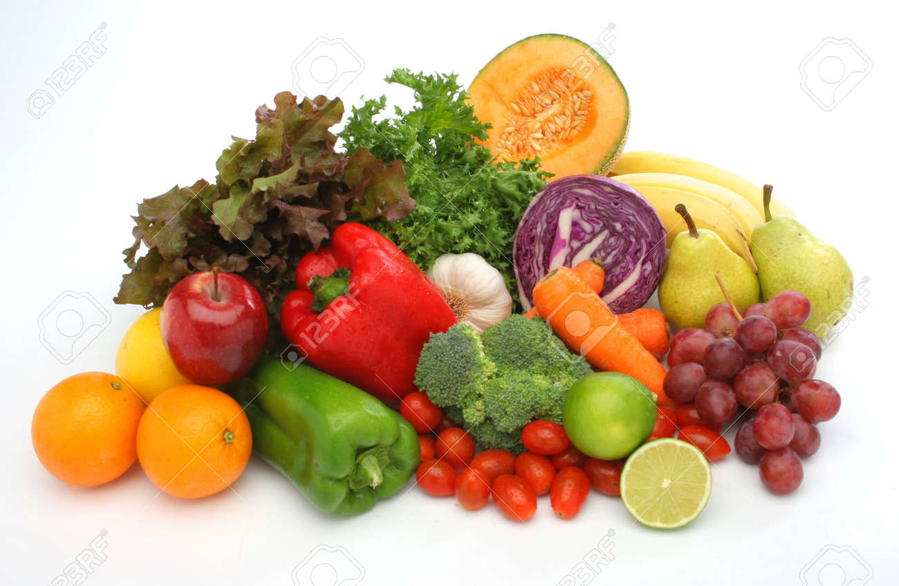 Colorful fresh group of fruits and vegetables for a balanced diet. White background. Look at my gallery for more fresh fruits and vegetables. Stock Photo - 375119