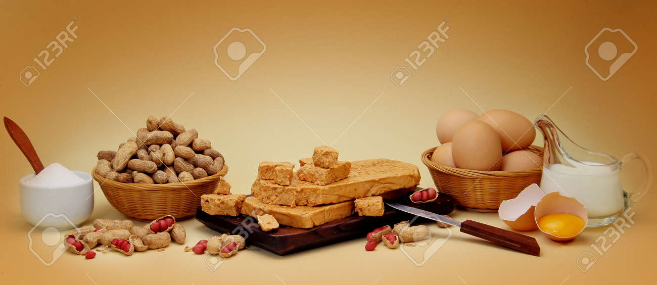 Peanut fudge composition with ingredients. Sugar, milk and egg. Look at my gallery for more food pics Stock Photo - 444918