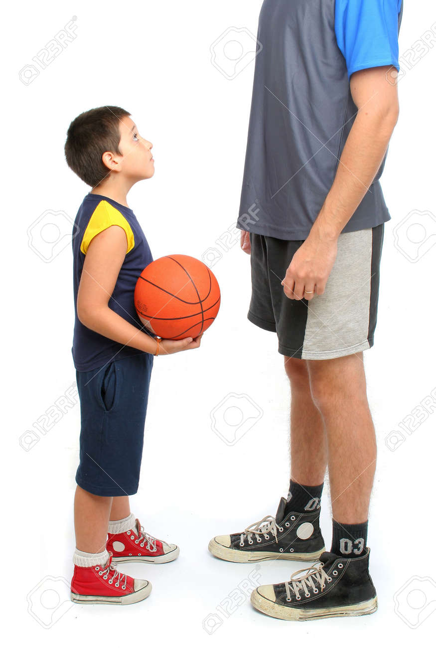 little boy asking big man to play basketball . From my sport series. Stock Photo - 453585