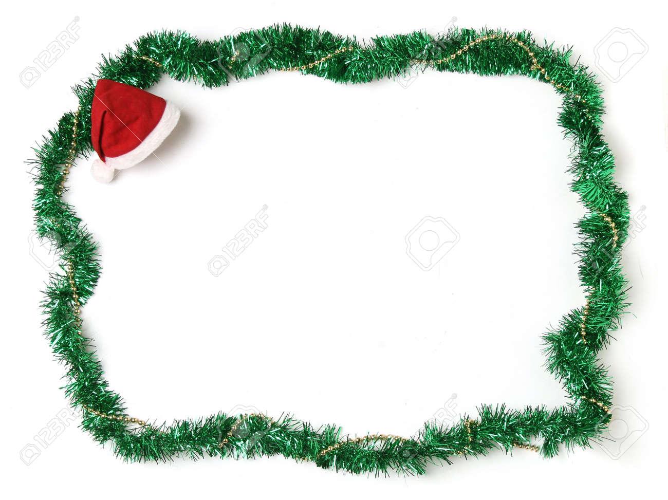 Christmas Ornament Rahmen Mit Nikolausmütze Lizenzfreie Fotos ...