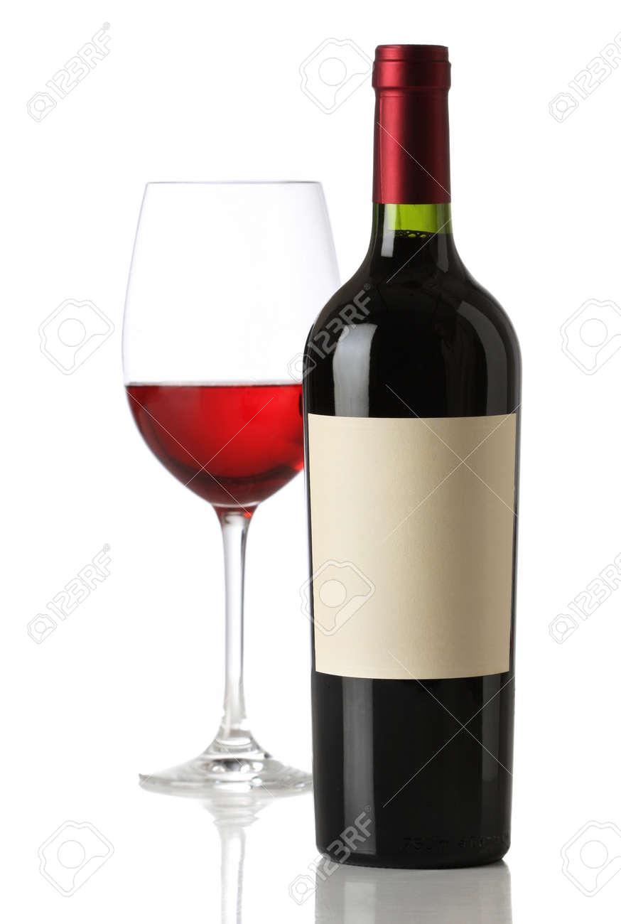 Bouteille De Vin Rouge Avec Tiquette Vide Et De Verre Banque D