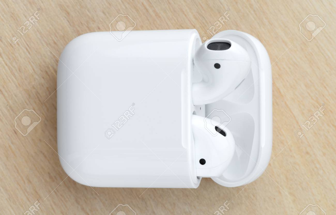 Rostov-on-Don, Russia - December 2018  Apple Airpods in a charging