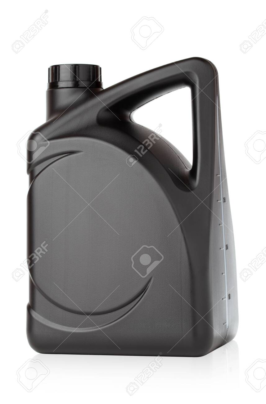 Canister for technical liquids on a white background. Black Canister for automotive oil close-up. - 146907872