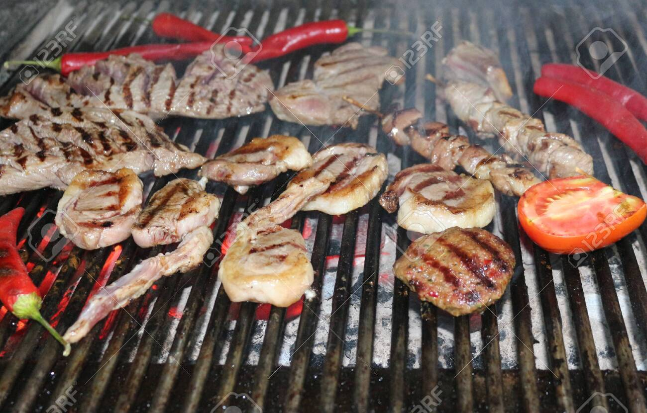 Beef Steaks and Vegetables on the Grill - 146048149
