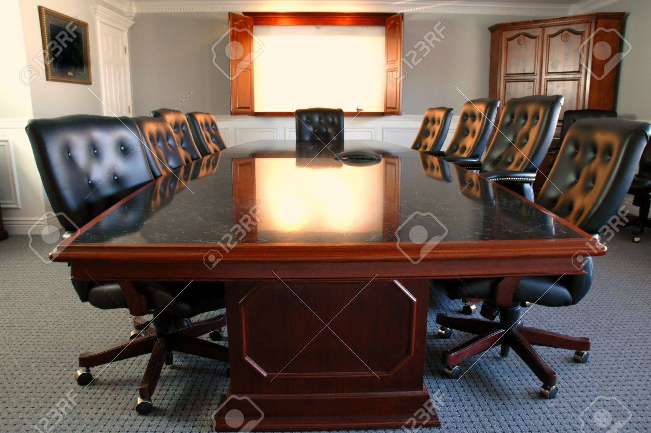 Conference Room Table With Several Leather Chairs Photo – Conference Room Chairs Leather