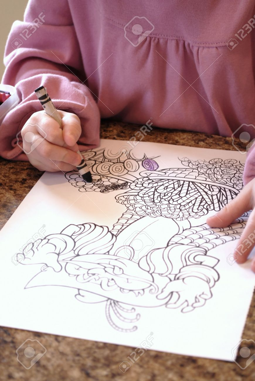 Little Child Colring In Coloring Book With Crayons Stock Photo ...