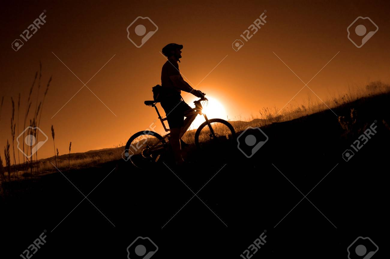 Mountain biking up a trail in the mountains Stock Photo - 4577933