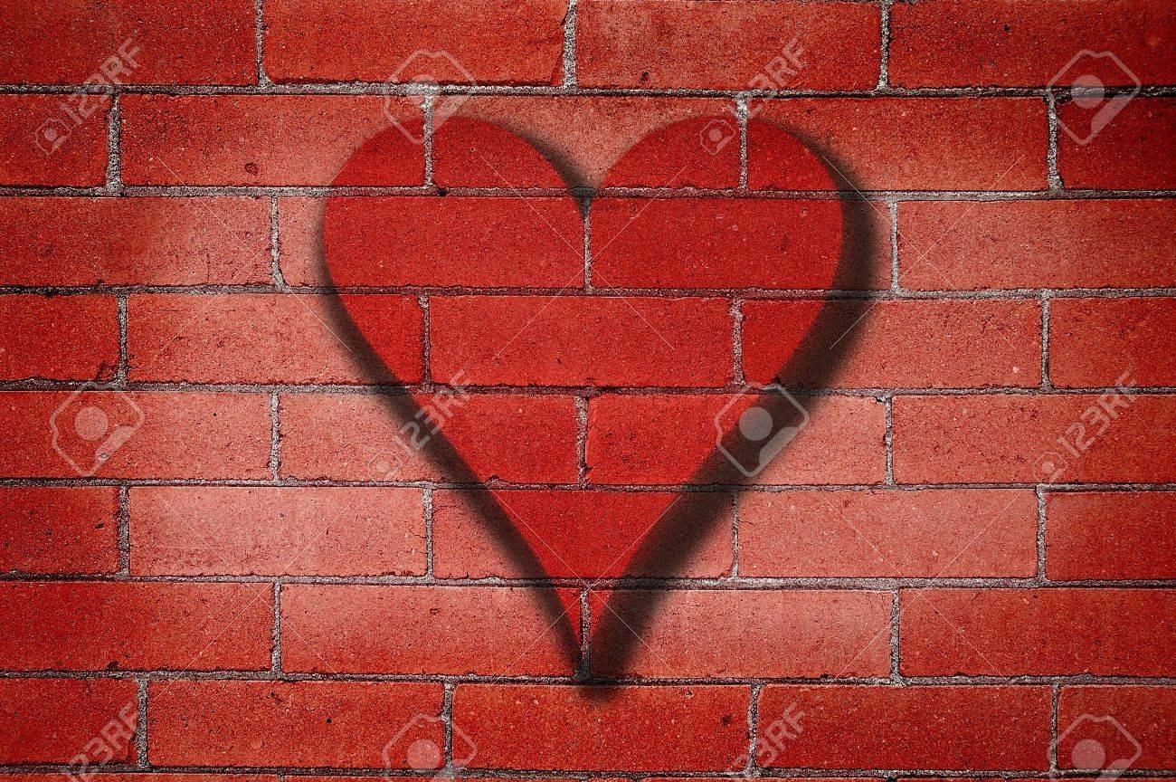 Grafiti wall red - Old Red Brick Wall With Heart Graffiti Stock Photo 8915100