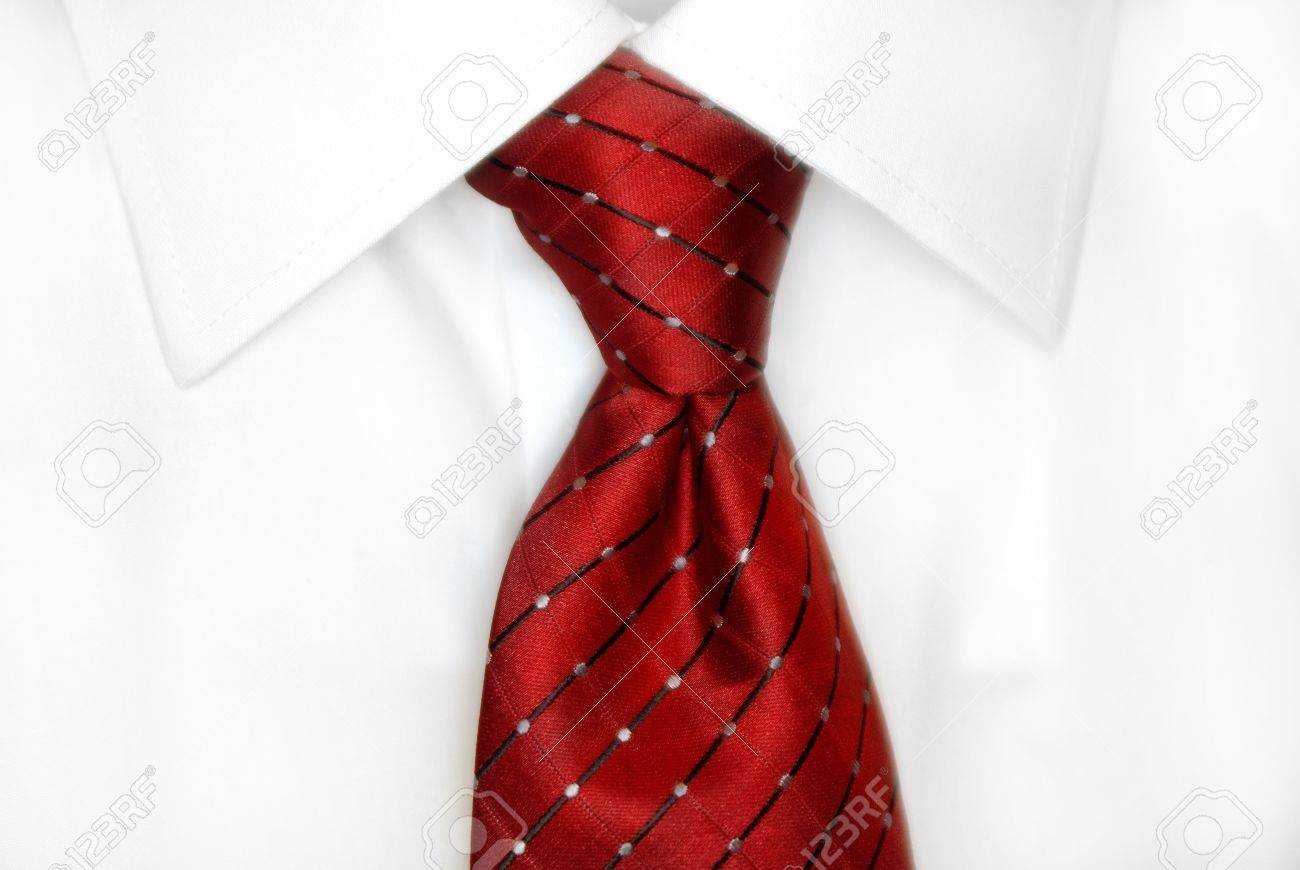 White Dress Shirt With Red Tie Detailed Closeup Stock Photo Picture