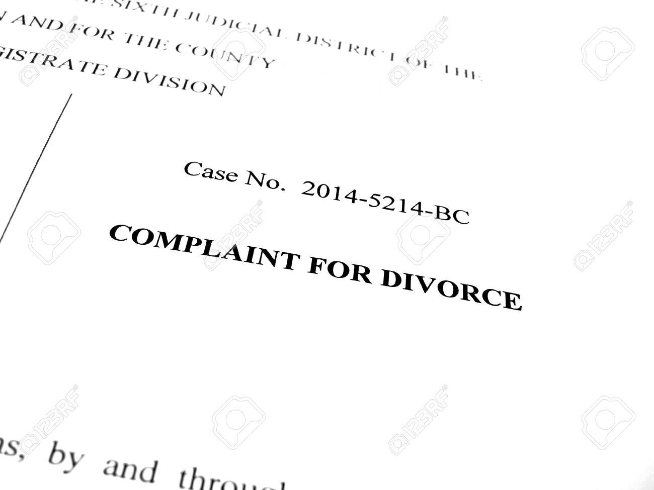 legal papers complaint for divorce in court stock photo picture and