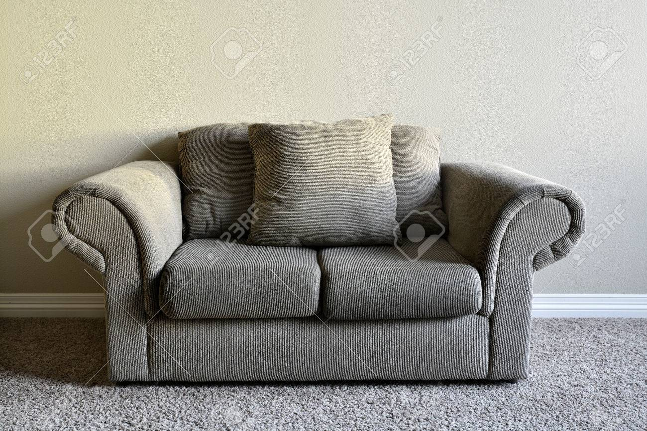 Brown fortable Couch Inside Home House Inviting Stock