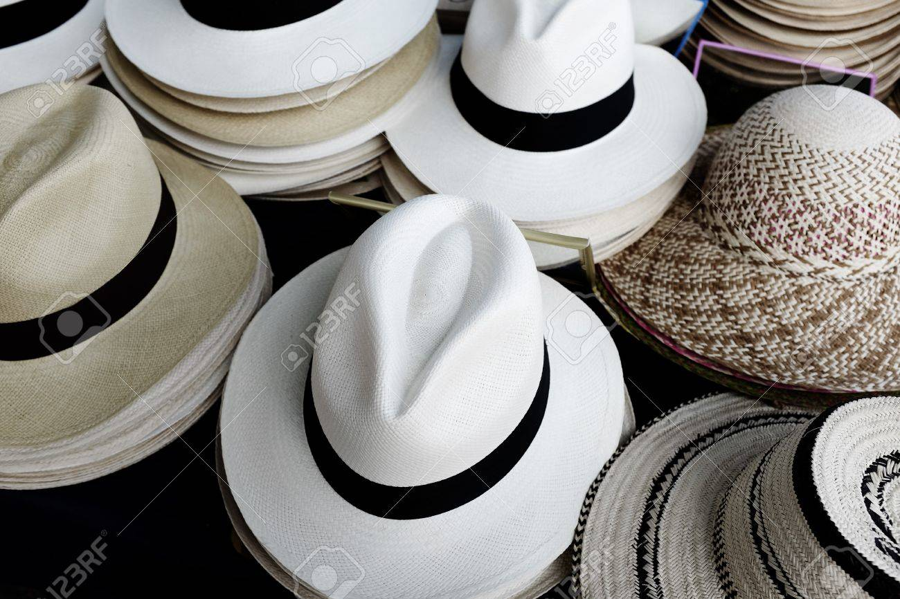 f46ea96a42f380 Detail of stacks and rows of panama hats for sale Stock Photo - 54747062