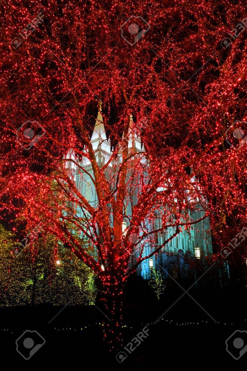 Temple Square Salt Lake City Christmas Lights.Temple Square Salt Lake City Utah With Christmas Lights Celebration