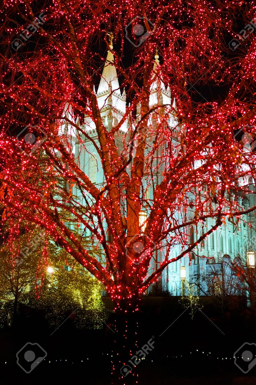 Salt Lake City Mormon Temple Christmas Lights December Utah Stock Photo    106934161