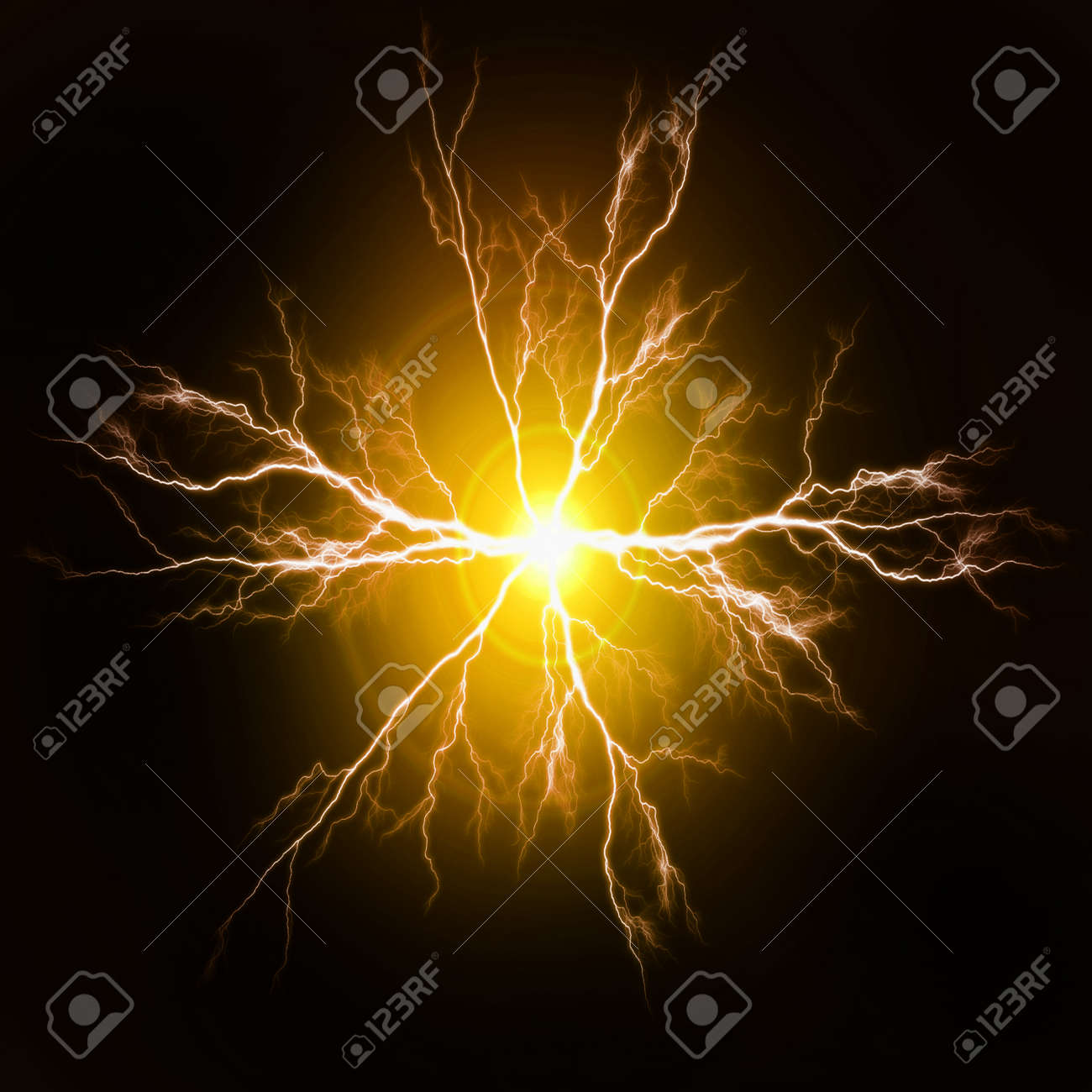 Explosion of pure power and yellow electricity in the dark - 155489026