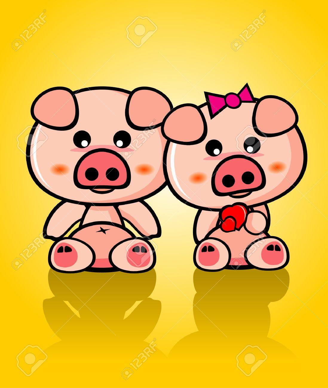 Cute Pigs Cartoon in Love Cute Pig Vector Pig Cartoon