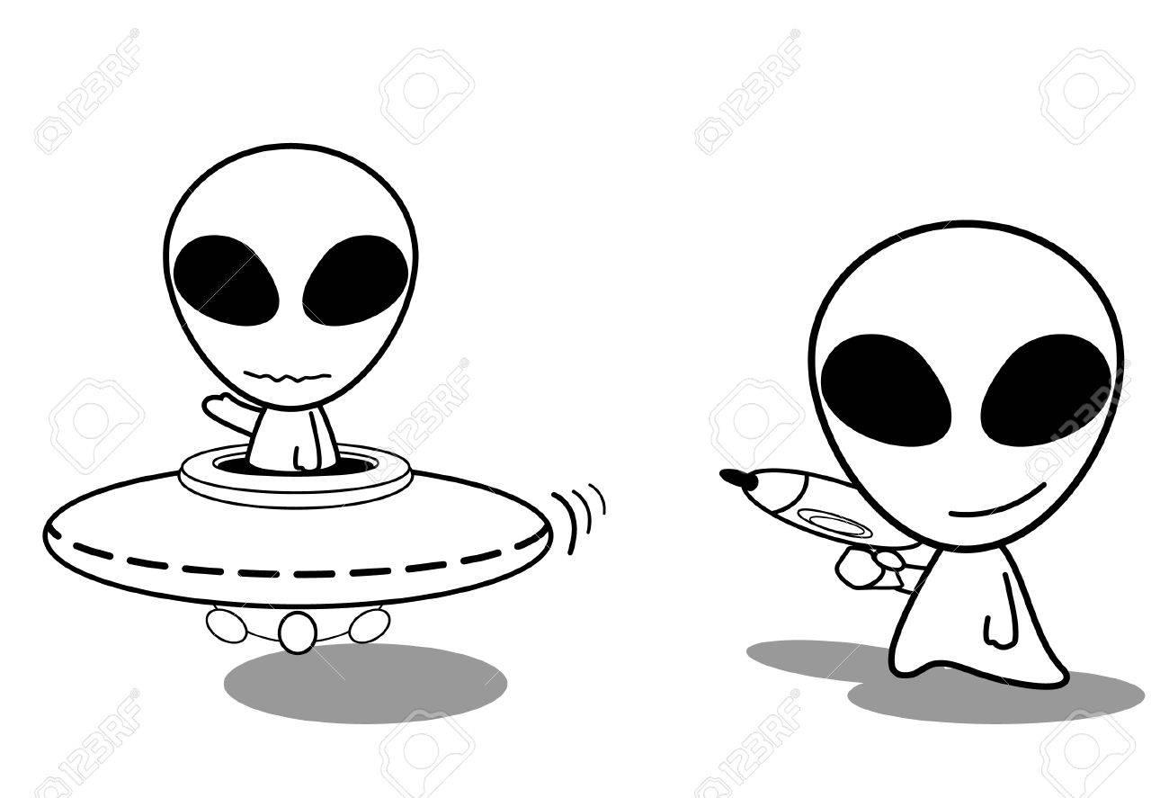Cute Ufo Drawing Cute Ufo Alien Cartoon