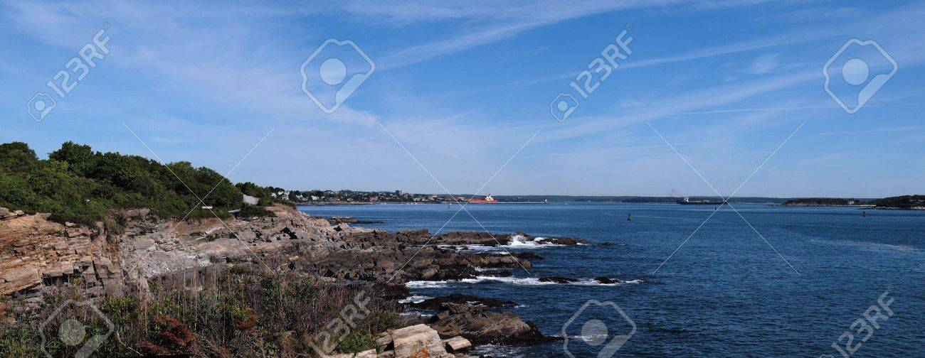 Panoramic of Portland Maine harbor area with rocky coastline in view Stock Photo - 7495534