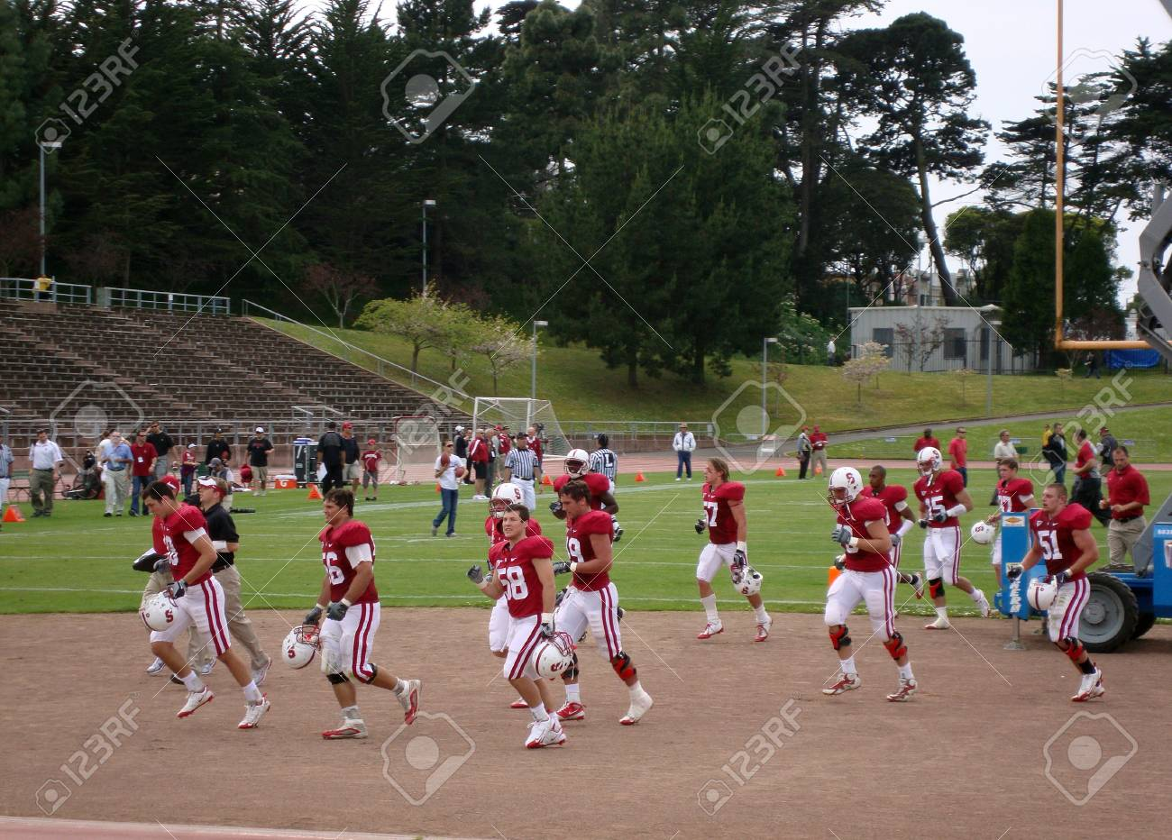 Stanfords players run off the field at halftime during the 2010 Practice game . Taken April 17 2010 at historic Kezar Stadium in San Francisco California Stock Photo - 7525460
